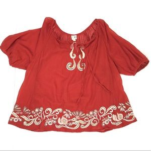 Anthro Wool Burnt Red Embroidered Peasant Top